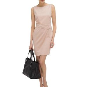 LK Bennett tan Clara pleat dress